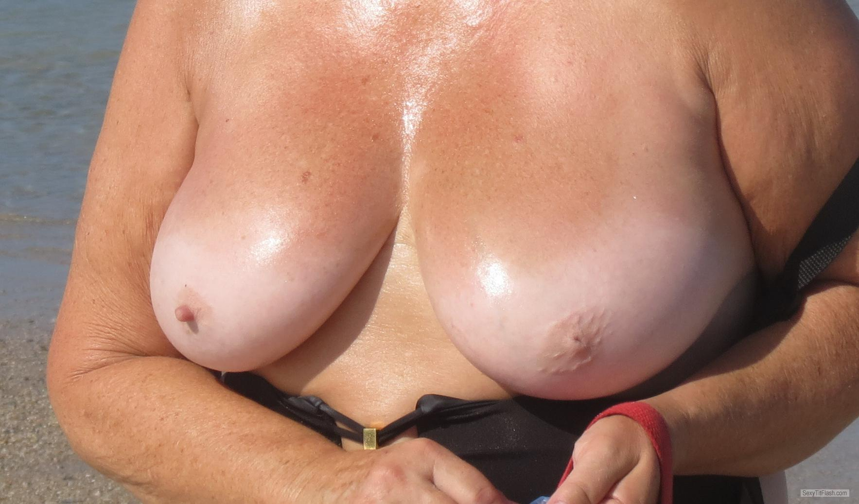 Tit Flash: Wife's Tanlined Big Tits - Ms B from United States